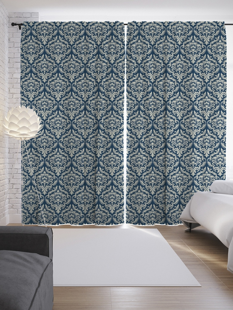 Teal damask curtains