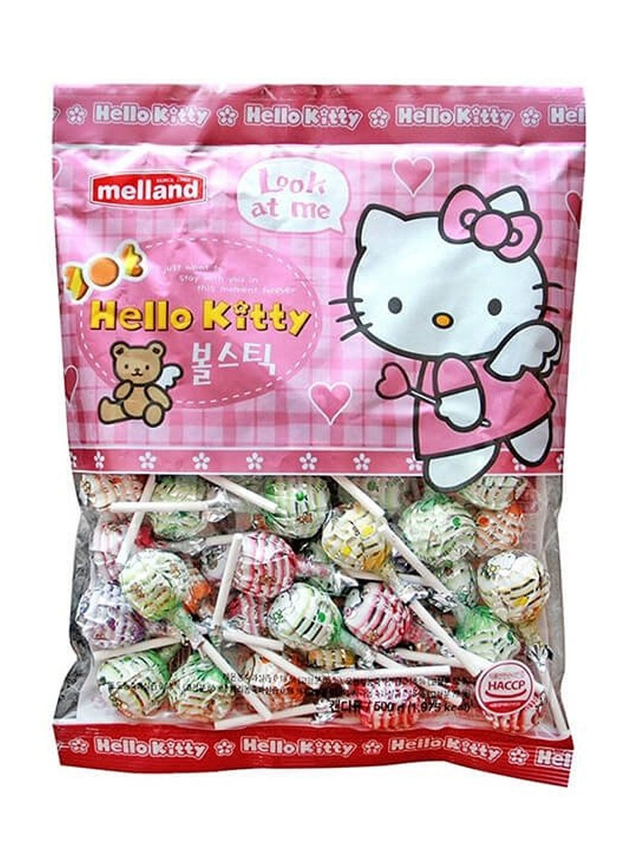 Карамель Hello Kitty ball stick candy со вкусом лимона,апельсина,винограда,вишни,яблока, 500гр Melland 15690303 в интернет-магазине Wildberries.ru