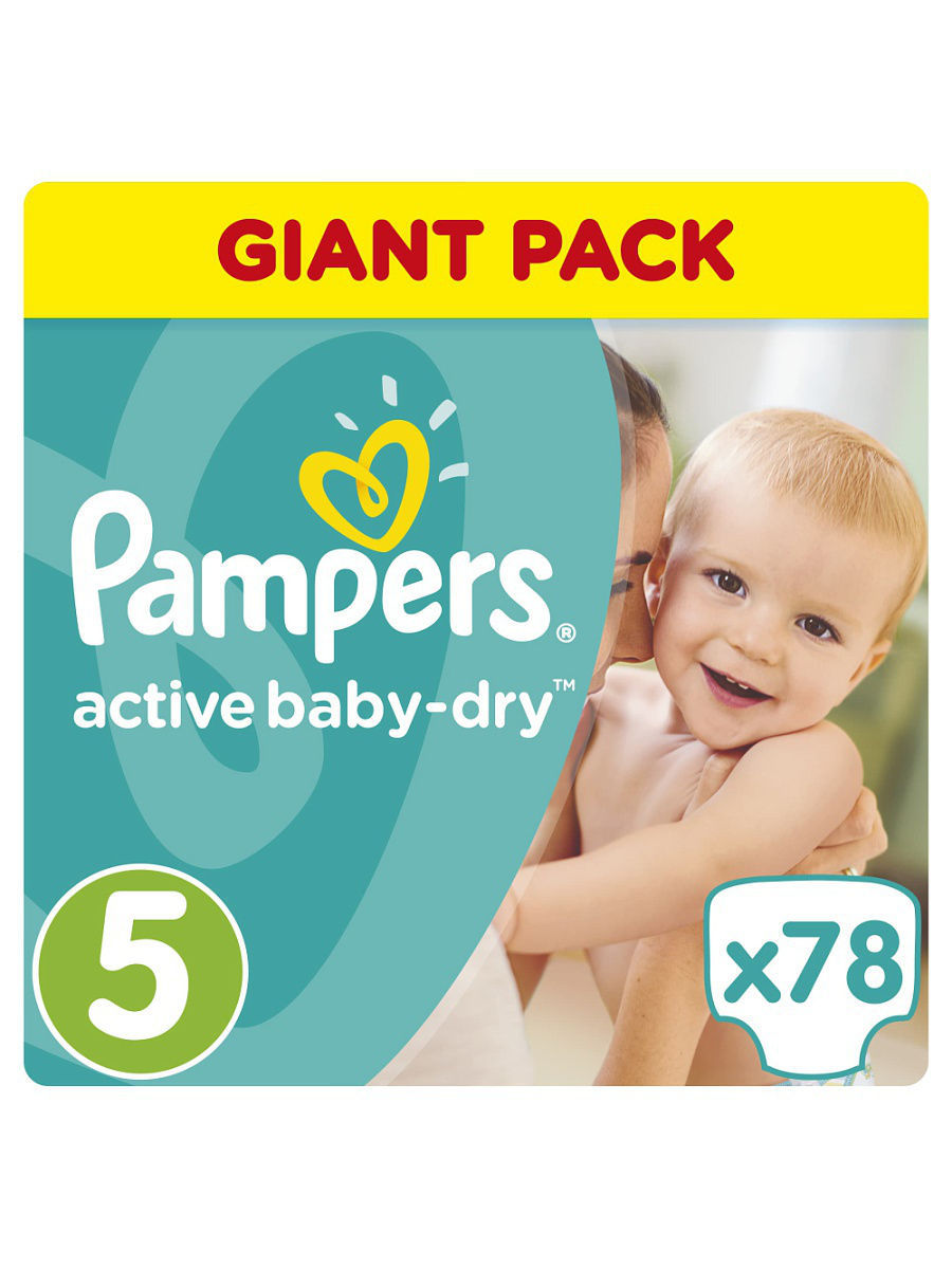 dd7af9ba5f08 Подгузники Active Baby-Dry 11-18 кг, 5 размер, 78 шт. Pampers ...