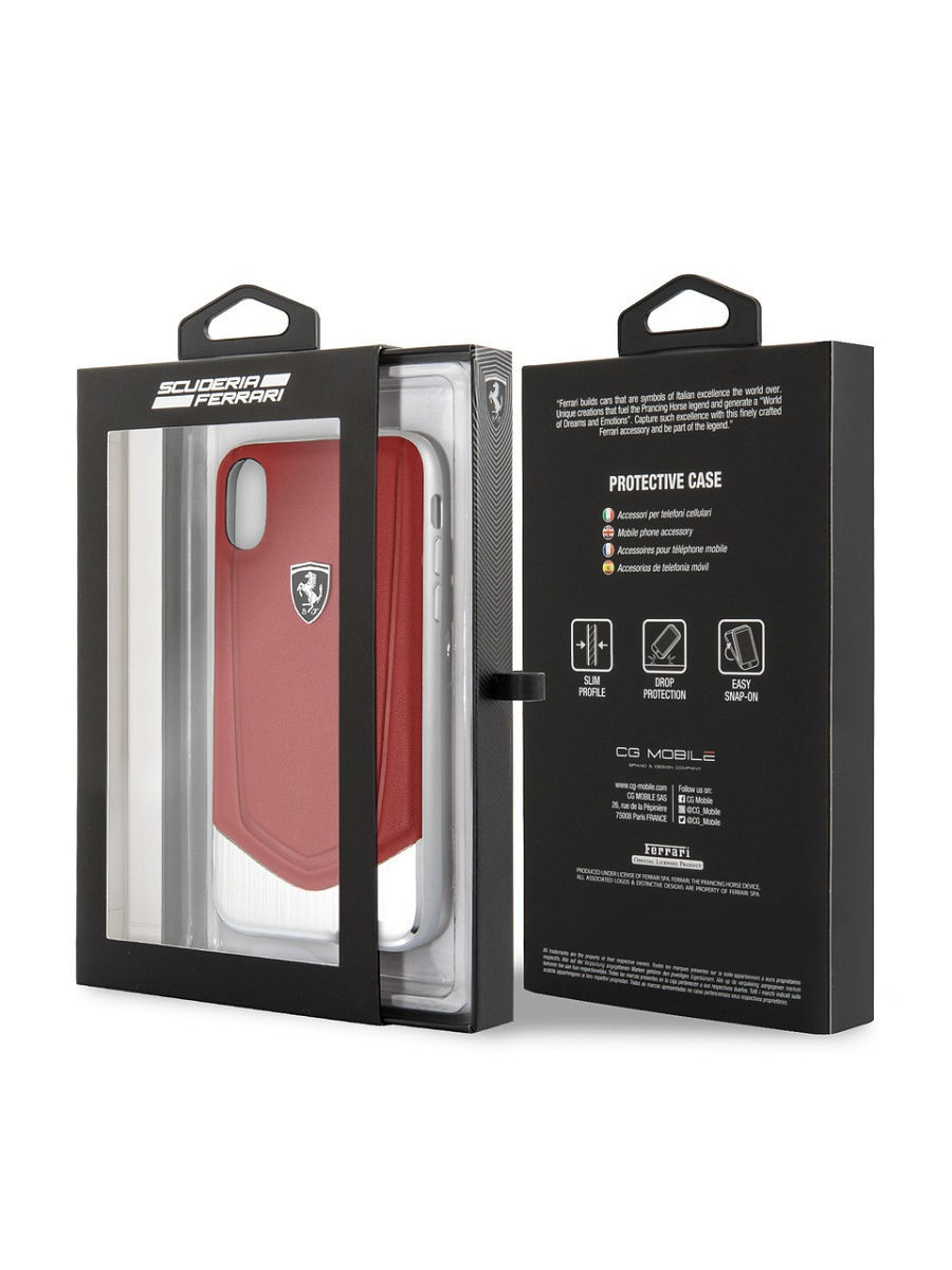 511c85b438fa Ferrari для iPhone X Heritage V Hard Leather aluminium stripe Red FERRARI  5287861 в интернет-магазине Wildberries.ru