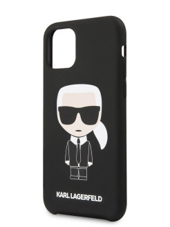 Lagerfeld Case for iPhone 11 Pro Max Liquid silicone Iconic Karl Hard Black Karl Lagerfeld