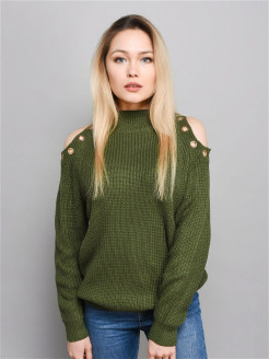 Women's sweater / Knitted / Off-shoulder / Long sleeve / Length 64 cm NORNI