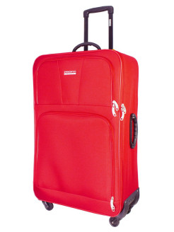Suitcase fabric on 4 wheels TOUR BASIC red, super light, large L, 100 L, 80 cm PROFFI