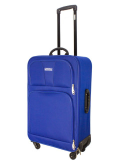 Suitcase fabric on 4 wheels TOUR BASIC blue, super light, medium M, 60 l, 70 cm PROFFI