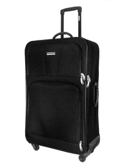 Suitcase fabric on 4 wheels TOUR BASIC black, super light, large, L, 100 l, 80 cm PROFFI