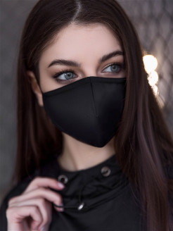 "Маска защитная многоразовая Mask ""Total Black"" Bona Fide"