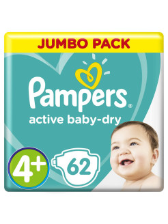 Подгузники Pampers Active Baby-Dry 10-15 кг, размер 4+, 62 шт. Pampers
