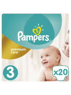 Подгузники Pampers Premium Care 5-9 кг, 3 размер, 20 шт Pampers