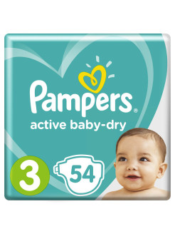 Подгузники Pampers Active Baby-Dry 5-9 кг, 3 размер, 54 шт. Pampers