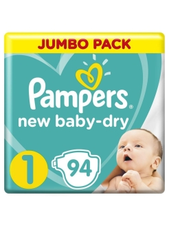 Подгузники Pampers New Baby-Dry 2-5 кг, 1 размер, 94 шт. Pampers