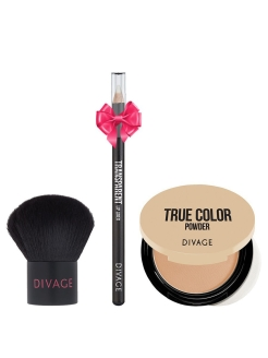 Набор: кисть кабуки PROFESSIONAL LINE & пудра COMPACT POWDER TRUE COLOR тон 04 & ПОДАРОК DIVAGE