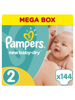 Подгузники Pampers New Baby-Dry 3-6 кг, 2 размер, 144 шт. Pampers