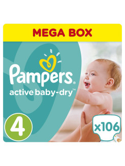 Подгузники Pampers Active Baby-Dry 8-14 кг, 4 размер, 106 шт. Pampers