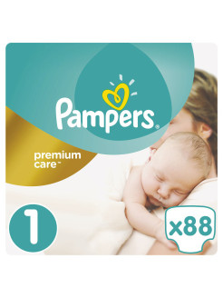 Подгузники Pampers Premium Care 2-5 кг, 1 размер, 88 шт. Pampers