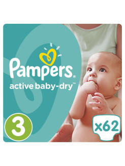 Подгузники Pampers Active Baby-Dry 5-9 кг, 3 размер, 62 шт. Pampers