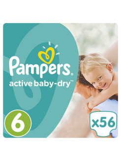 Подгузники Pampers Active Baby-Dry 15+ кг, 6 размер, 56 шт. Pampers