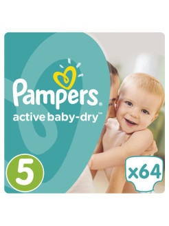 Подгузники Pampers Active Baby-Dry 11-18 кг, 5 размер, 64 шт. Pampers