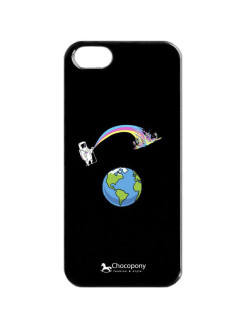 "Чехол для iPhone 5/5s ""Космонавт и радуга"" Арт. Black5-101 Chocopony"