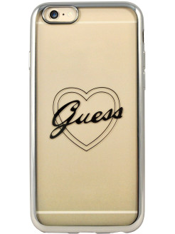 Чехол для iPhone 6/6S Signature heart Hard TPU Silver GUESS