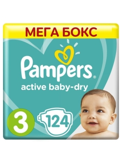 Подгузники Pampers Active Baby-Dry 6-10 кг, размер 3, 124 шт. Pampers