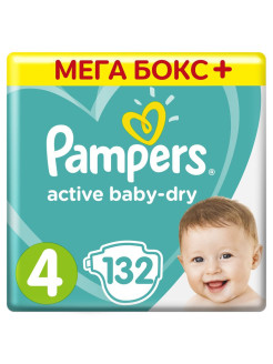 Подгузники Pampers Active Baby-Dry 9-14 кг, размер 4, 132 шт. Pampers