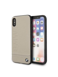 Чехол BMW для iPhone X Signature Logo imprint Hard Leather, Taupe BMW