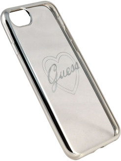 Чехол Guess для iPhone 7/8 Signature heart Hard TPU Silver GUESS