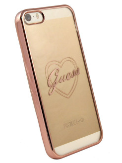 Чехол Guess для iPhone 5S/SESIGNATURE HEART Hard TPU Rose gold GUESS