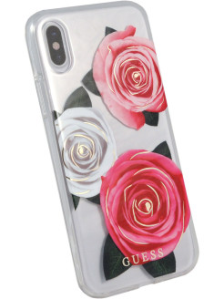 Чехол Guess для iPhone X Flower desire Transparent Hard PC/Roses, Pink/White GUESS