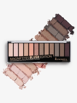 Палетка из 12 оттенков для век Magnifeyes Palette, тон 002 Blush Edition Rimmel