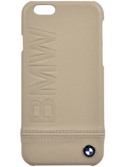 Чехол BMW для iPhone 6/6S Logo Imprint Hard Leather Taupe BMW