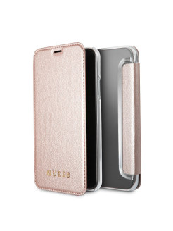 Чехол Guess для IPhone X Iridescent Booktype PU Rose gold GUESS