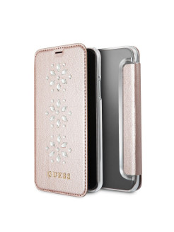 Чехол Guess для iPhone X Studs&Sparkles Booktype/Snowflakes Pink GUESS