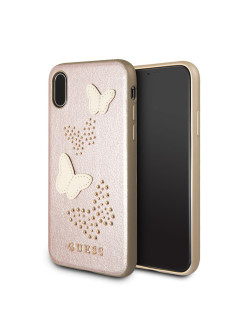 Чехол Guess для iPhone X Studs&Sparkles Hard PU/Butterflies Rose gold GUESS