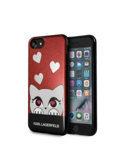 Чехол Lagerfeld iPhone 7/8 Double layer Choupette valentine Hard TPU Glitter red ! Karl Lagerfeld