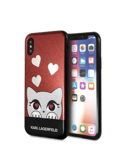 Чехол Lagerfeld для iPhone X Double layer Choupette valentine Hard TPU Glitter red Karl Lagerfeld