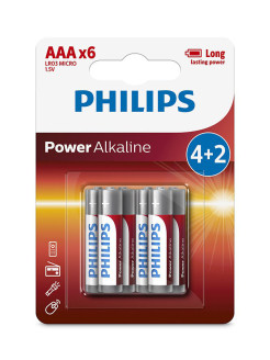 Батарея Power Alkaline LR03P6BP ААА Philips