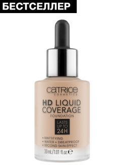 Основа тональная HD Liquid Coverage Foundation 020 Rose Beige розовый беж CATRICE.