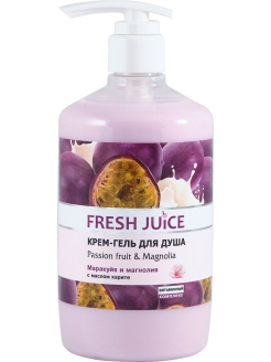 Крем-гель для душа Passion fruit & Magnolia 750мл с дозатором (насос) Fresh Juice