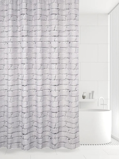 Штора 180х180 д/в WHITE BRICKS  (LIGHT GREY) Bath Plus