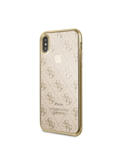 Guess для iPhone X 4G Transparent Hard TPU Gold GUESS