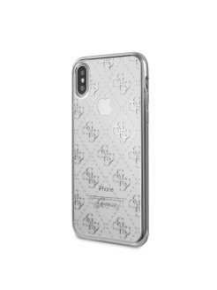 Guess для iPhone X 4G Transparent Hard TPU Silver GUESS