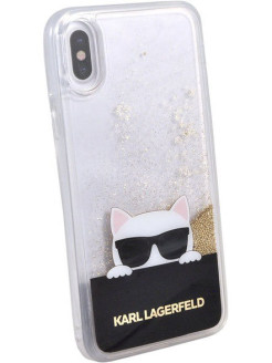 Lagerfeld для iPhone X Liquid glitter Choupette sunglasses Hard TPU Transp/Gold Karl Lagerfeld