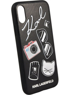 Lagerfeld для iPhone X Embossed Pins Hard PU Black Karl Lagerfeld