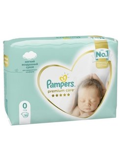 Подгузники Pampers Premium Care, Размер 0, 1.5-2.5кг, 30 штук Pampers