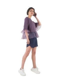 Powder-lilac T-shirt with frills WATCH ME MOSCOW