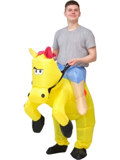 "Inflatable costume ""Horseman on a yellow horse"" ПраздникСнаб"