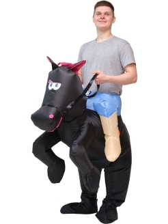 "Inflatable costume ""Horseman on a black horse"" ПраздникСнаб"