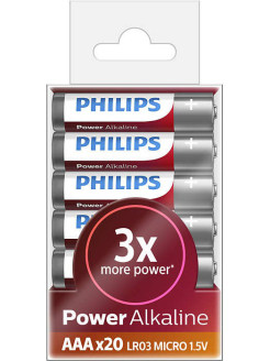 Батарея Power Alkaline LR03P20T/10 AAA Philips