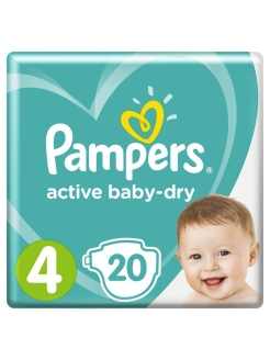 Подгузники Pampers Active Baby Dry 9-14 кг, размер 4, 20 шт Pampers